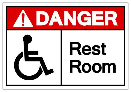 Danger Rest Room Symbol Sign, Vector Illustration, Isolated On White Background Label .EPS10