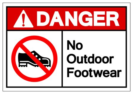 Danger No Outdoor Footwear Symbol Sign, Vector Illustration, Isolated On White Background Label .EPS10