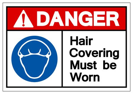 Danger Hair Covering Must Be Worn Symbol Sign, Vector Illustration, Isolated On White Background Label .EPS10 Illusztráció