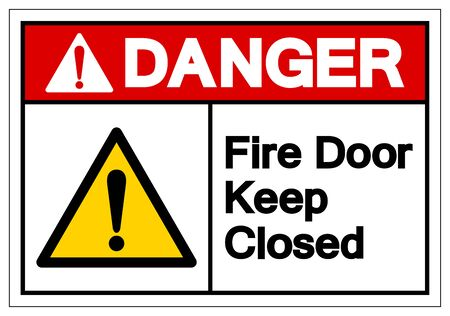 Danger Fire Door Keep Closed Symbol Sign ,Vector Illustration, Isolate On White Background Label. EPS10