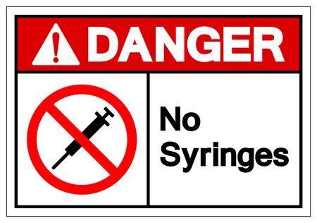 Danger No Syringes Symbol Sign ,Vector Illustration, Isolate On White Background Label .EPS10 Illustration