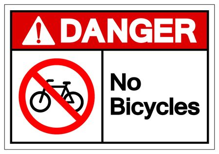 Danger No Bicycles Symbol Sign ,Vector Illustration, Isolate On White Background Label. EPS10