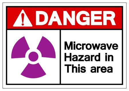 Danger Microwave Hazard In This Area Symbol Sign ,Vector Illustration, Isolate On White Background Label .EPS10
