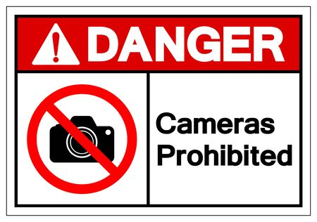 Danger Cameras Prohibited Symbol Sign, Vector Illustration, Isolated On White Background Label .EPS10 Ilustrace