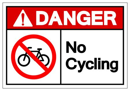 Danger No Cycling Symbol Sign, Vector Illustration, Isolated On White Background Label .EPS10 Ilustrace