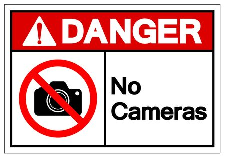 Danger No Cameras Symbol Sign, Vector Illustration, Isolated On White Background Label .EPS10