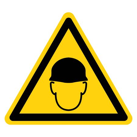 Warning Wear Head Protection Symbol Sign,Vector Illustration, Isolated On White Background Label. EPS10 Illustration