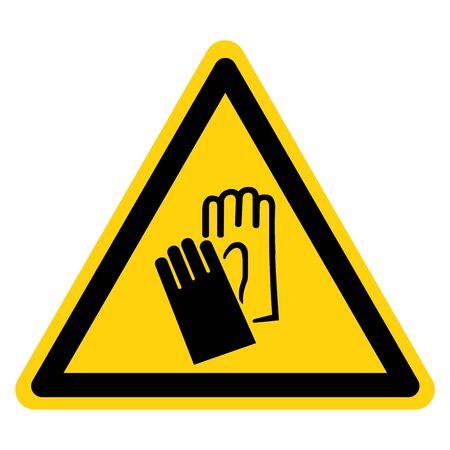 Warning Wear Gloves Symbol Sign, Vector Illustration, Isolate On White Background Label .EPS10  向量圖像