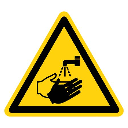 Warning Wash Your Hand Symbol Sign,Vector Illustration, Isolated On White Background Label. EPS10 Illustration