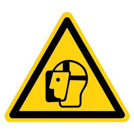 Warning Wear Face Shield Symbol Sign,Vector Illustration, Isolated On White Background Label. EPS10