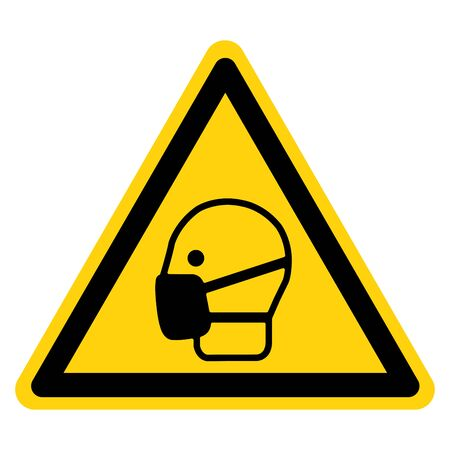Warning Wear Mask Symbol Sign,Vector Illustration, Isolated On White Background Label. EPS10