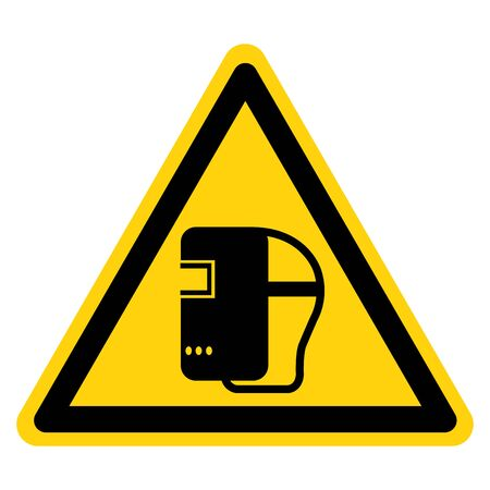 Warning Wear Welding Mask Symbol Sign,Vector Illustration, Isolated On White Background Label. EPS10 Illustration