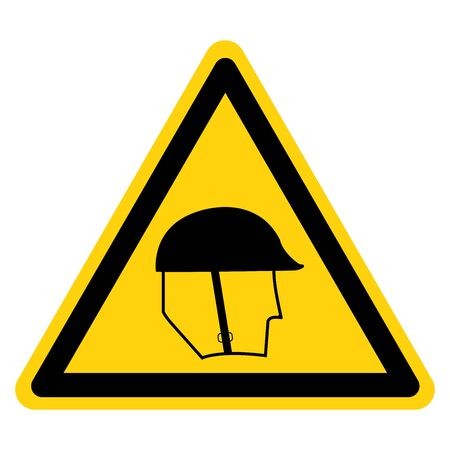 Warning Wear Head Protection Symbol ,Vector Illustration, Isolate On White Background Label .EPS10