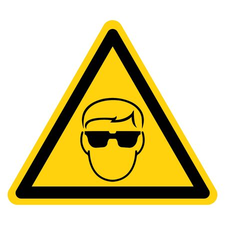 Warning Wear Safety Glasses Must Be Worn Symbol Sign, Vector Illustration, Isolated On White Background Label. EPS10 Illustration