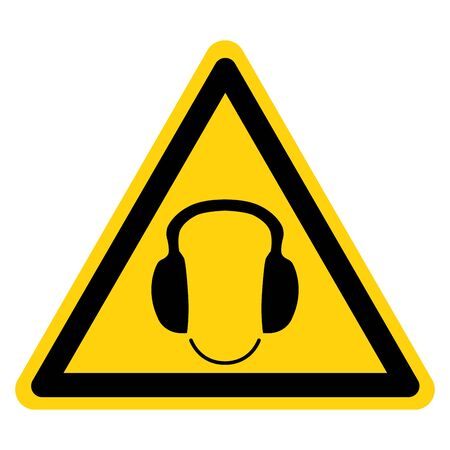 Warning Wear Ear Protection Symbol Sign, Vector Illustration, Isolated On White Background Label. EPS10