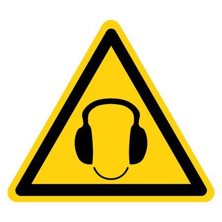 Warnung tragen Gehörschutz-Symbol-Zeichen, Vektor-Illustration, isoliert auf weißem Hintergrund-Label. EPS10