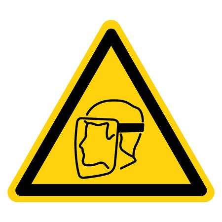 Warning Face Shield Must Be Worn Symbol Sign,Vector Illustration, Isolated On White Background Label. EPS10 Illustration
