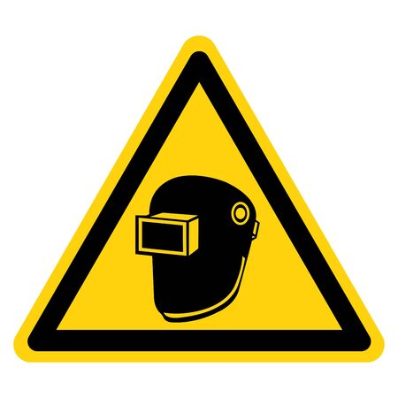 Warning Wear Welding Helmet Symbol Sign,Vector Illustration, Isolated On White Background Label. EPS10