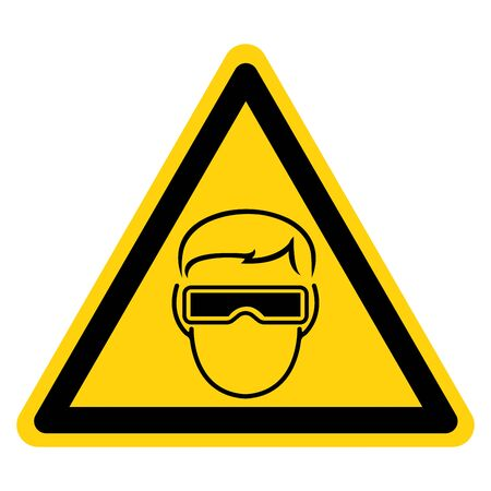 Warning Wear Goggle Symbol Sign ,Vector Illustration, Isolate On White Background Label. EPS10