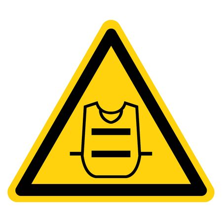 Warning Wear Vest Symbol Sign,Vector Illustration, Isolated On White Background Label. EPS10 Illustration