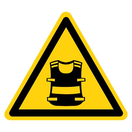 Warning Wear High Visibility Clothing Symbol Sign,Vector Illustration, Isolated On White Background Label. EPS10