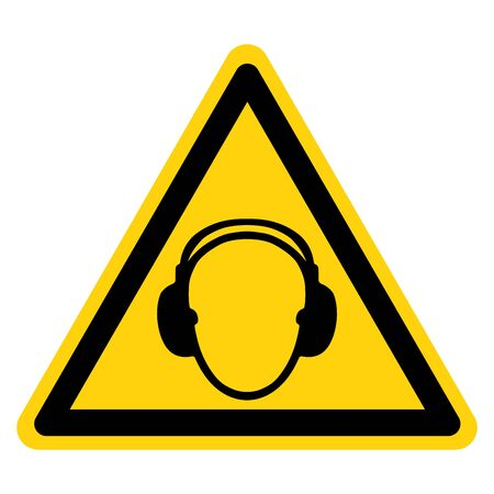 Warning Wear Earmuff Symbol Sign,Vector Illustration, Isolated On White Background Label. EPS10 Illustration