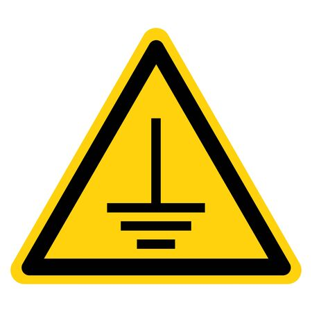 Warning Connect An Earth Terminal To The Ground Symbol Sign,Vector Illustration, Isolated On White Background Label. EPS10