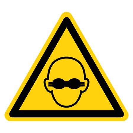 Warning Wear Opaque Eye Protection Symbol Sign,Vector Illustration, Isolated On White Background Label. EPS10