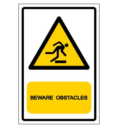 Beware Obstacles Symbol Sign, Vector Illustration, Isolate On White Background Label .EPS10 Illustration