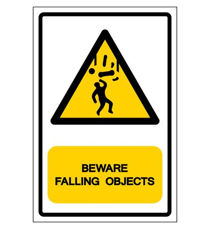 Beware Falling Objects Symbol, Vector Illustration, Isolated On White Background Label. EPS10
