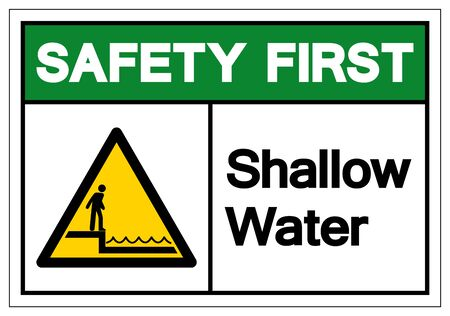 Safety First Shallow Water Symbol Sign, Vector Illustration, Isolated On White Background Label .EPS10