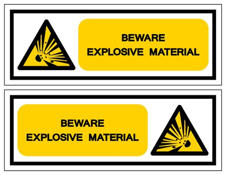 Beware Explosive Material Symbol, Vector Illustration, Isolate White On Background Label. EPS10 向量圖像