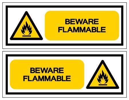 Beware Flammable Symbol, Vector Illustration, Isolate On White Background Label. EPS10 Çizim