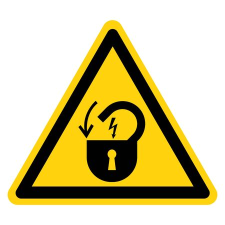 Warning Lock Out Electrical Power Symbol Sign, Vector Illustration, Isolate On White Background Label .EPS10  向量圖像