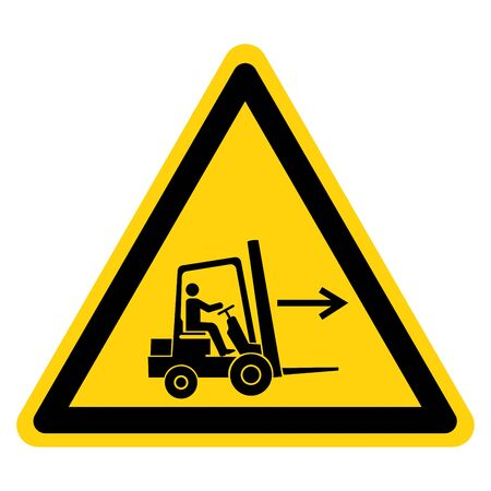 Warning Forklift Point Right Symbol Sign,Vector Illustration, Isolated On White Background Label. EPS10 Banco de Imagens - 132108822