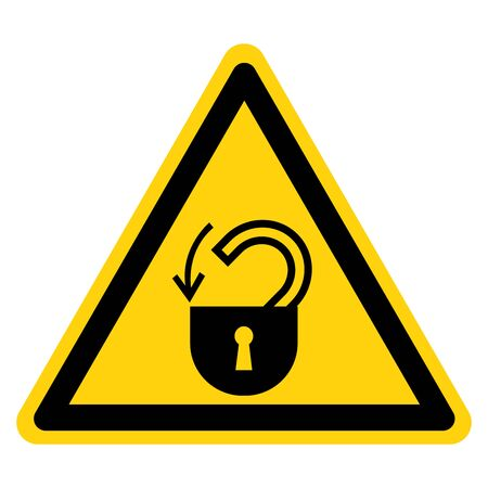 Warning Insert Safety Lock Symbol Sign,Vector Illustration, Isolated On White Background Label. EPS10 Banco de Imagens - 132108824