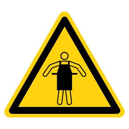 Warning PPE Use Protective Apron Symbol Sign,Vector Illustration, Isolated On White Background Label. EPS10