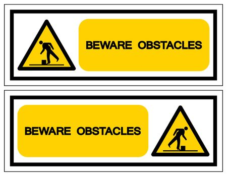 Beware Obstacles Symbol, Vector Illustration, Isolate White Background Label. EPS10
