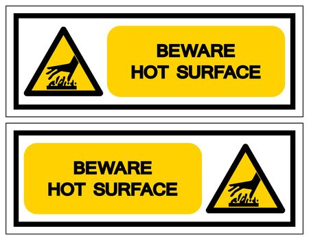 Beware Hot Surface Symbol, Vector Illustration, Isolate On White Background Label. EPS10