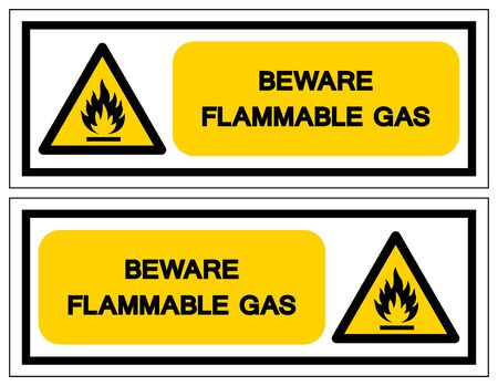 Beware Flammable Gas Symbol, Vector Illustration, Isolate On White Background Label. EPS10