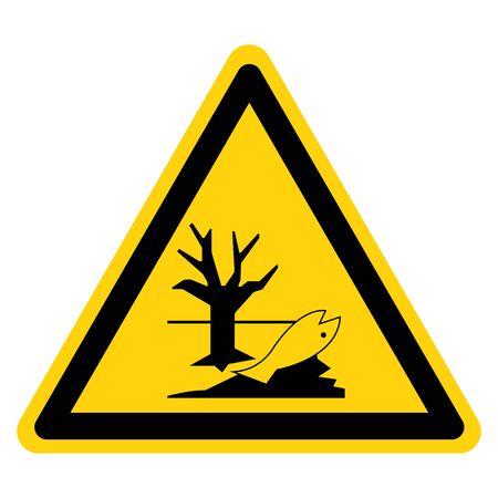 Advertencia: Elimine estos productos químicos correctamente. Son peligrosos para el signo del símbolo del medio ambiente, ilustración vectorial, aislar sobre fondo blanco, etiqueta .EPS10