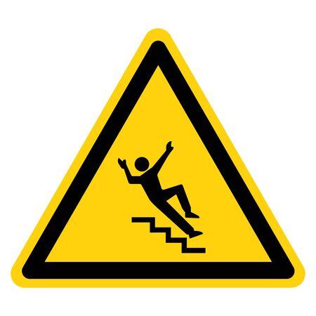 Signe de symbole d'escalier d'avertissement, illustration vectorielle, isolé sur l'étiquette de fond blanc