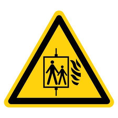 Advertencia en caso de incendio No utilice el letrero de símbolo de elevación, ilustración vectorial, aislar en etiqueta de fondo blanco .EPS10