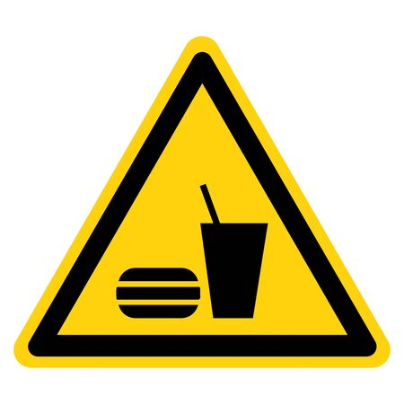 Warning No Eating Or Drinking Symbol Sign, Vector Illustration, Isolate On White Background Label Stock Illustratie