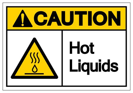Caution Hot Liquids Symbol Sign, Vector Illustration, Isolate On White Background Label Çizim