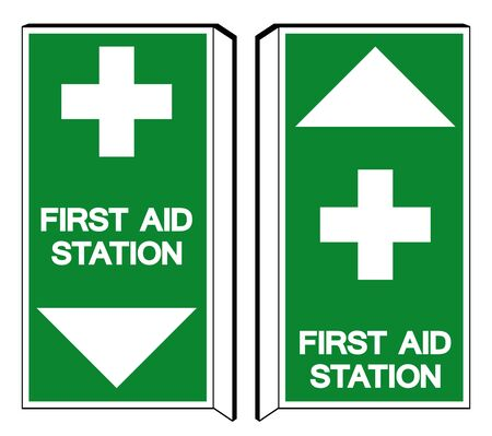 First Aid Station Symbol Sign, Vector Illustration, Isolated On White Background Label Illustration