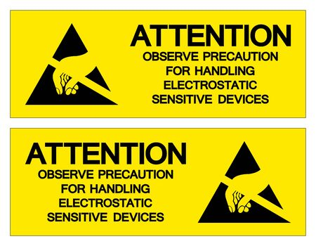 Attention Observe Precaution For Handling Electrostatic Sensitive Device Symbol Sign, Vector Illustration, Isolated On White Background Label