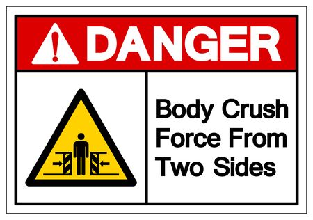 Danger Body Crush Force From Two Sides Symbol Sign, Vector Illustration, Isolate On White Background Label .EPS10  Ilustração