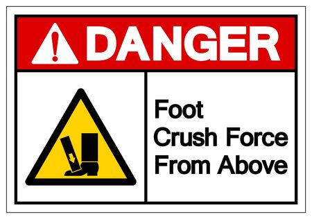 Danger Foot Crush Force From Above Symbol Sign, Vector Illustration, Isolate On White Background Label .EPS10