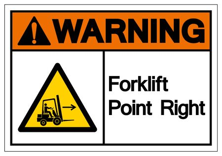 Warning Forklift Point Right Symbol Sign, Vector Illustration, Isolate On White Background Label 일러스트